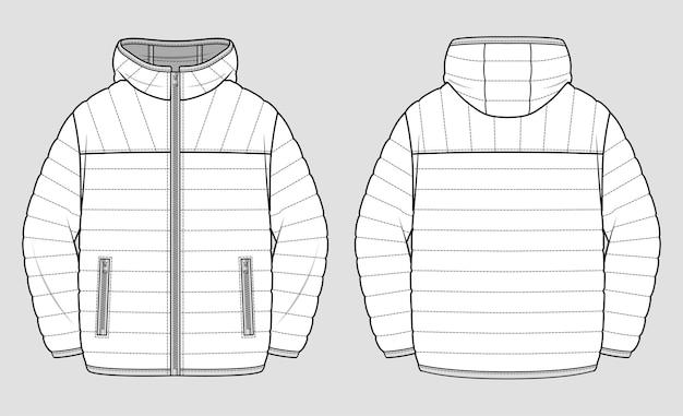 軽量のフグジャケット。テクニカルスケッチ。 Premiumベクター