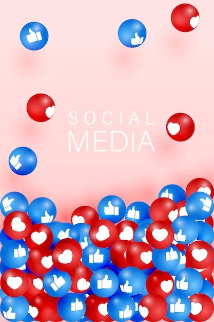 Как и пальцы вверх иконки, падающие на розовом фоне. 3d символ социальной сети. счетчик значков уведомлений. элементы социальных медиа. emoji реакции. Premium векторы