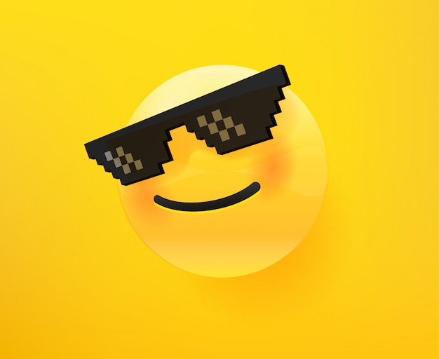 Like a boss emoticon. 3d comic style editable vector illustration Premium Vector