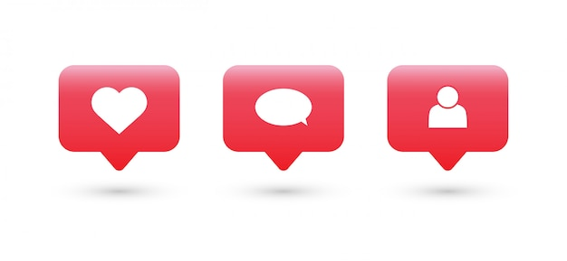 Like, comment, follow icon. social media notifications icons. Premium Vector