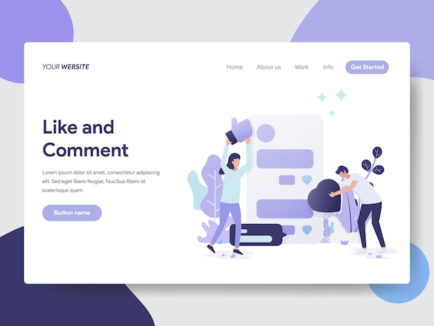 Like and comment illustration for web pages Premium Vector