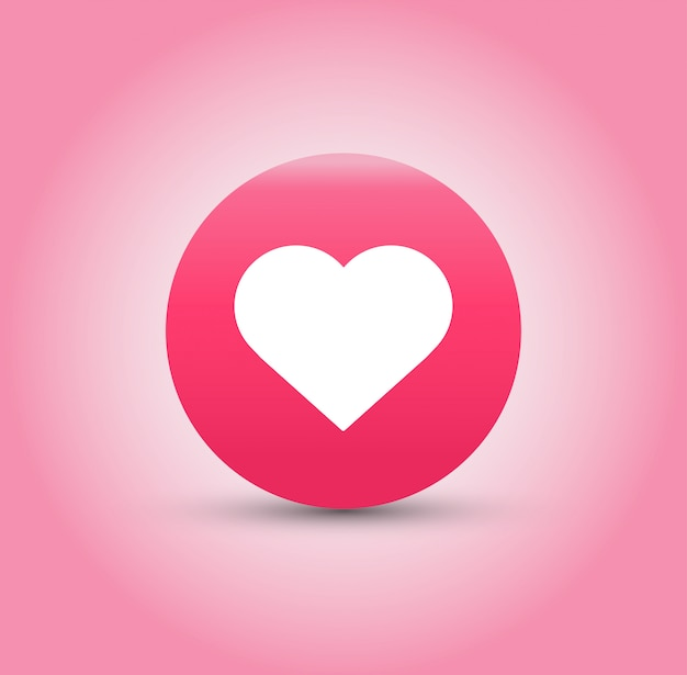 Like and heart icon on pink background. Premium Vector