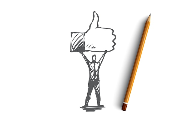 Like, symbol, good, network, finger concept. hand drawn person hold symbol of like concept sketch. Premium Vector