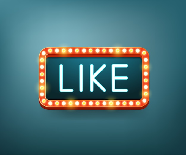 Like. text with electric bulbs frame. Premium Vector