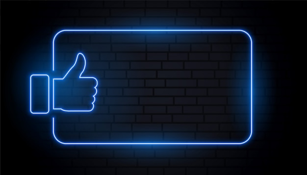Like thumb in blue neon style with text space Free Vector