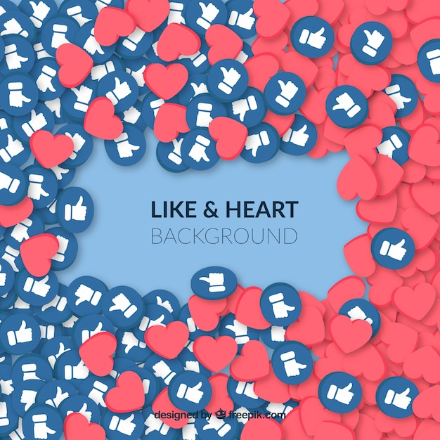 Likes and hearts facebook background Free Vector