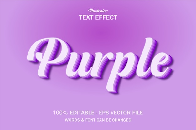 Lilac purple text style effect Premium Vector