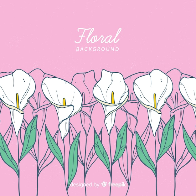 Lilly hand drawn floral background Free Vector