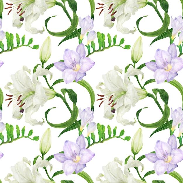 ユリとフリージアの花の水彩画のシームレスパターン Premiumベクター