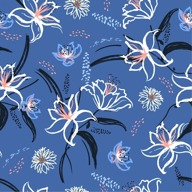 Lily and blooming flowers seamless pattern Premium Vector