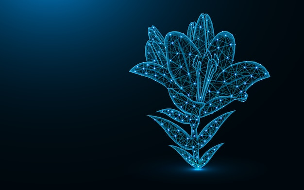 Lily flower low poly design Premium Vector