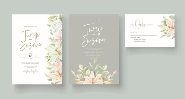 ユリの花の結婚式の招待カード Premiumベクター