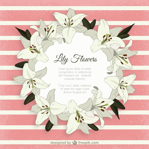 lily flowers frame vector  free download, Natural flower