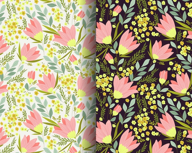 Lily flowers garden seamless pattern Premium Vector