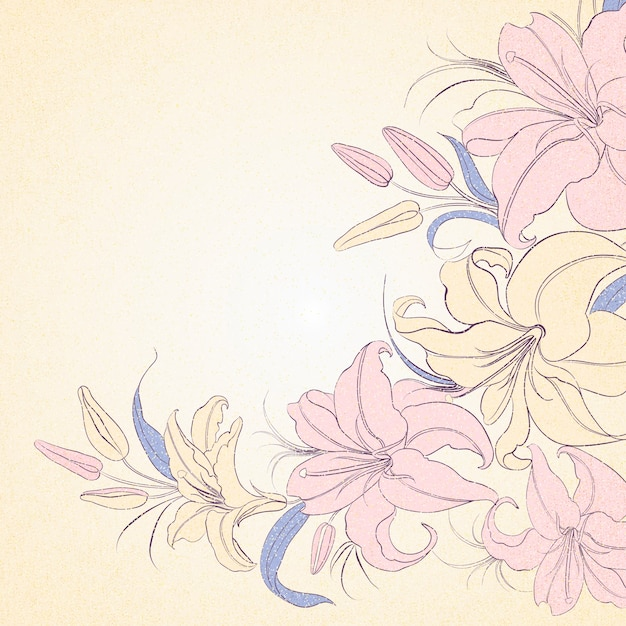 Lily frame isolated over sepia. Free Vector