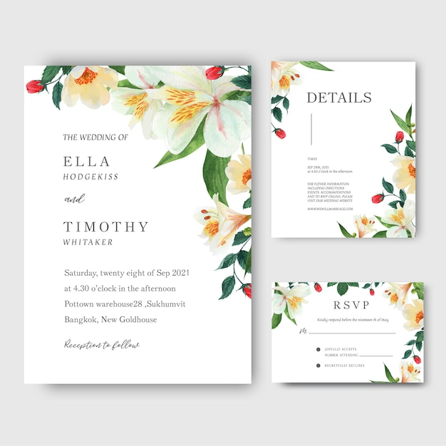 Lily, rose, magnolia flowers watercolor bouquets invitation card, save the date Free Vector