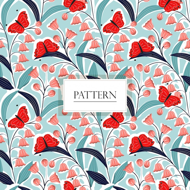 Lily of the valley flower and butterfly seamless pattern Premium Vector
