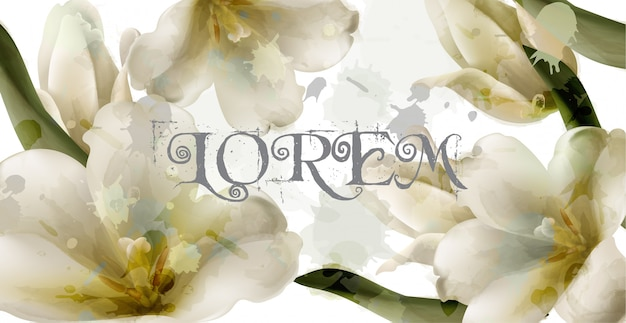 Lily watercolor flowers background Premium Vector