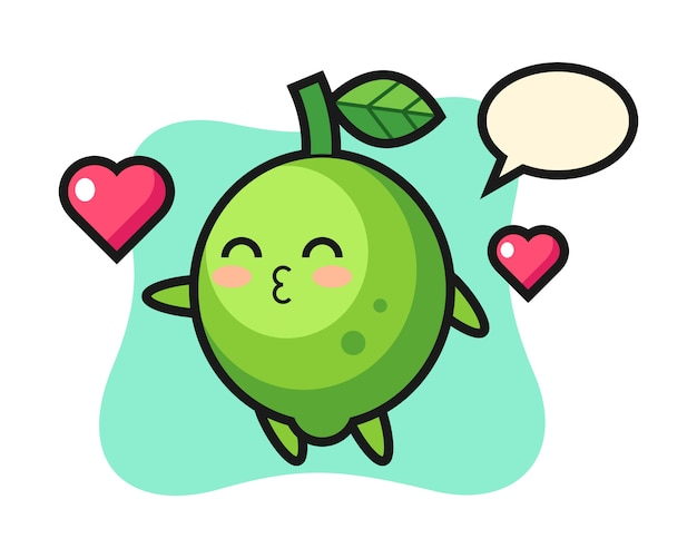 Lime character cartoon with kissing gesture, cute style , sticker, logo element Premium Vector