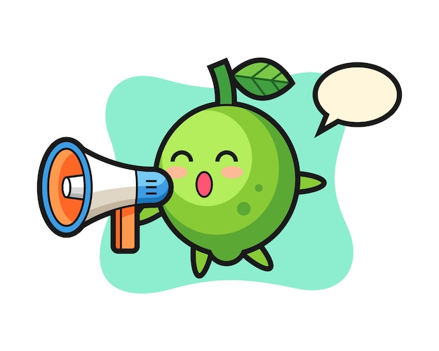 Lime character illustration holding a megaphone, cute style , sticker, logo element Premium Vector