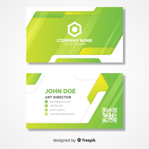Lime green business card template with logo Free Vector