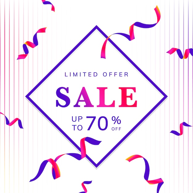 Limited offer 70% off sign vector Free Vector
