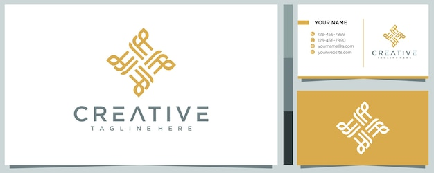 Line abstract logo  concept with business card template Premium Vector