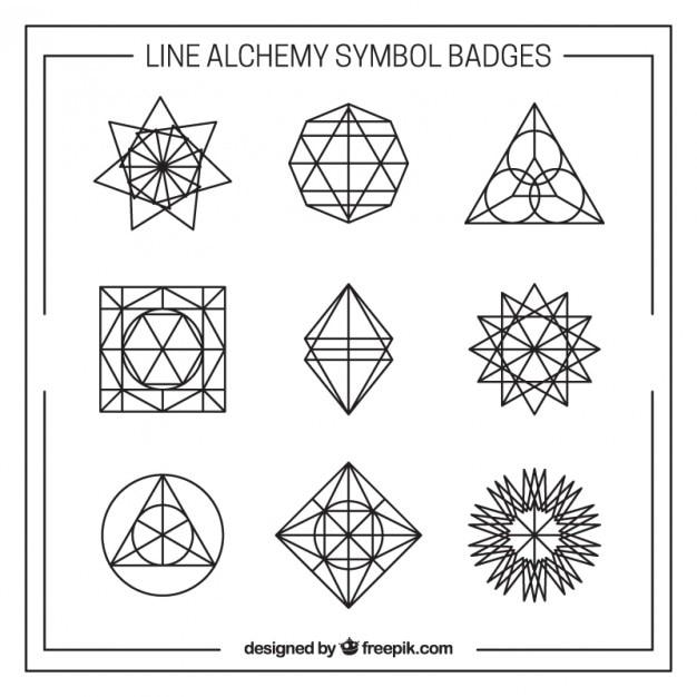 Line Alchemy Symbol Badges Vector Free Download