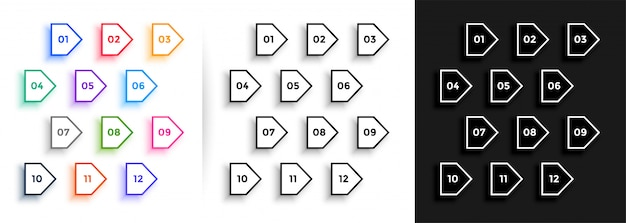 Line arrow style direction bullet points big set Free Vector