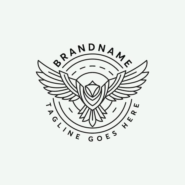 Line art abstrack phoenix logo design template Premium Vector