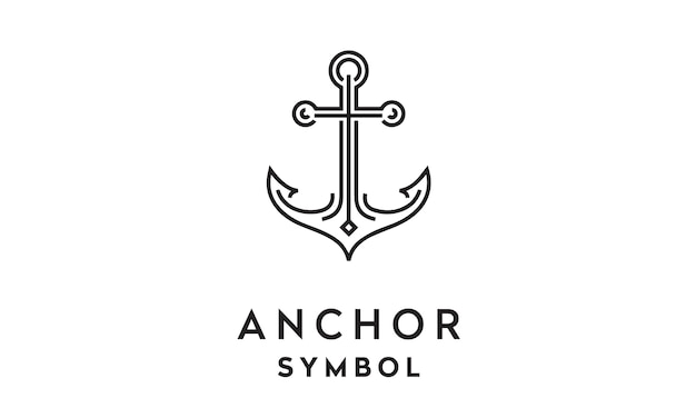 Line art anchor logo design Premium Vector