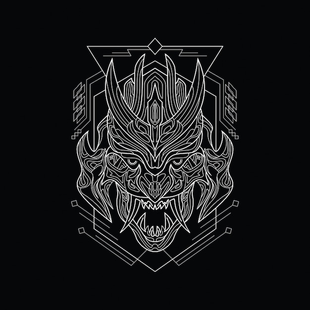 Line art angry demon mask with sacred geometry style Premium Vector