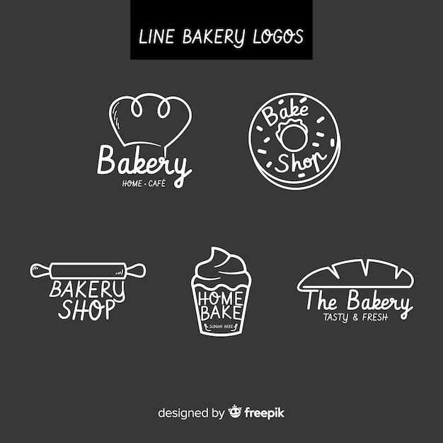 Line art bakery logo template Free Vector