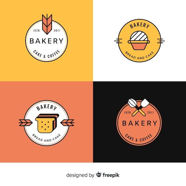 Line art bakery logos template set Free Vector