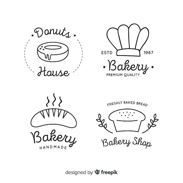 Line art bakery logos Free Vector