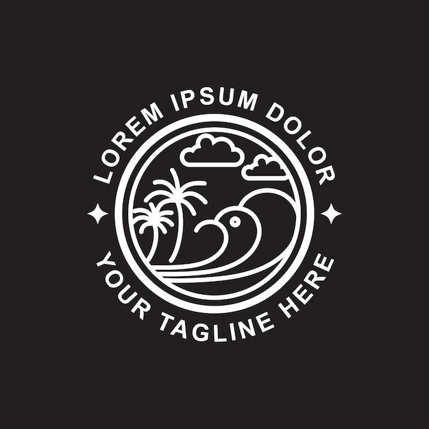 Line art beach logo design Premium Vector