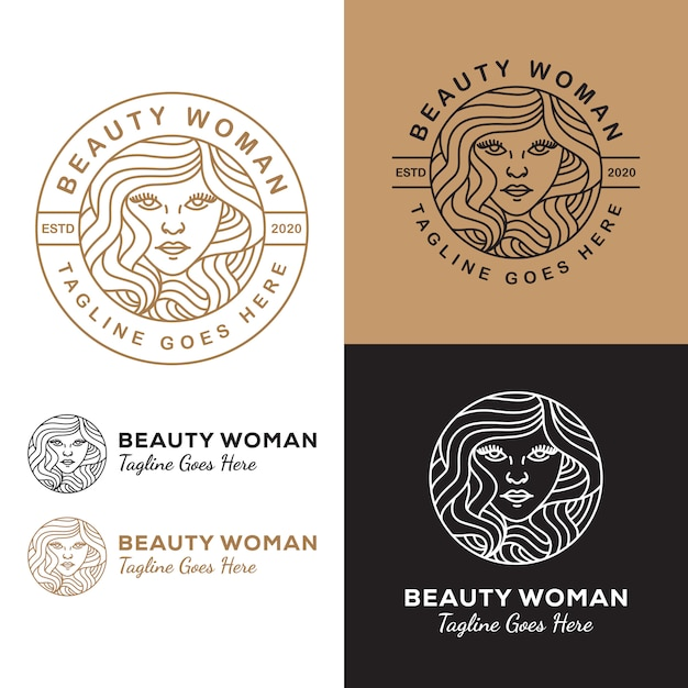 Line art beauty woman long hair logo  for salon or cosmetic product your business Premium Vector