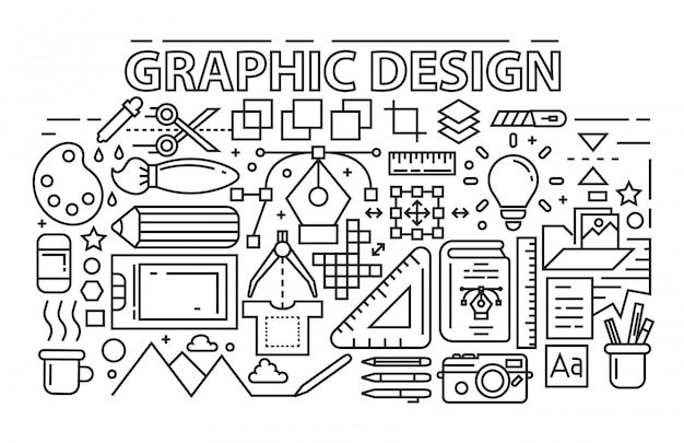 Line art design. graphic design theme with flat, black and bold outlines. Premium Vector