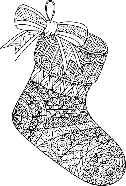 Premium Vector Line Art Design Of Hanging Christmas Sock For Coloring  Book, Coloring Page Or Print On Stuffs.