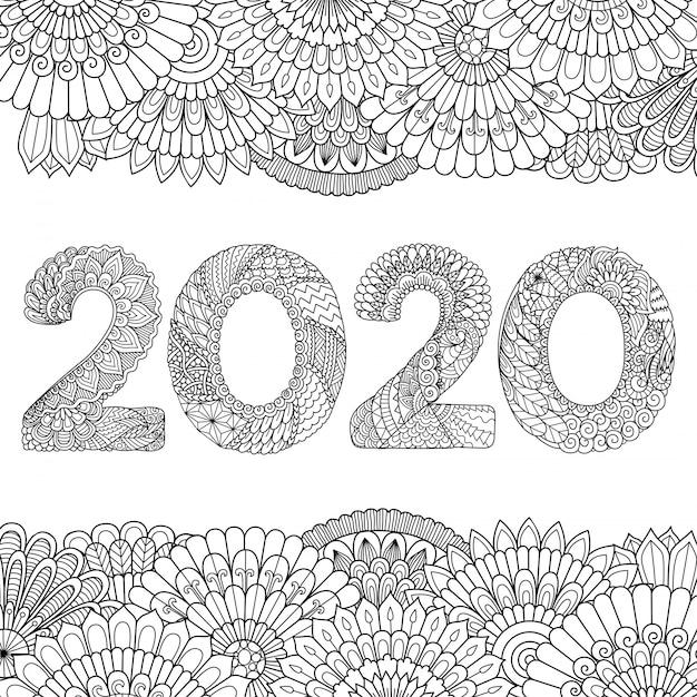 Линия художественного оформления цветов в форме 2020 года, с новым годом 2020 Premium векторы