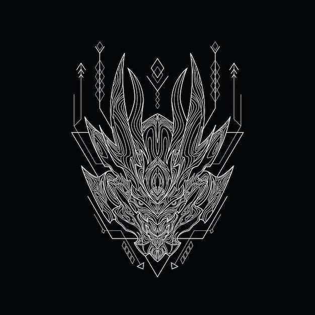 Line art file hell with sacred geometry style Premium Vector