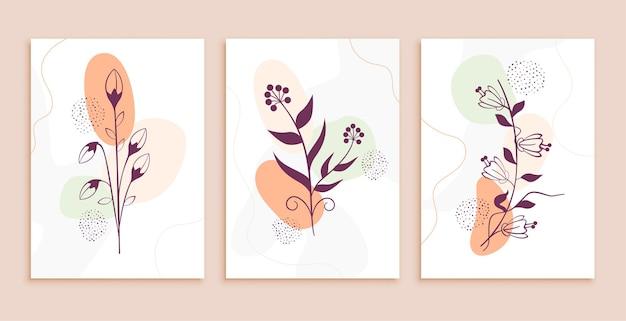 線画花と葉の抽象的な背景セット 無料ベクター