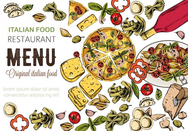 おいしいピザ、トマトのパスタ、チーズ、赤ワインのラインアート食品組成 無料ベクター
