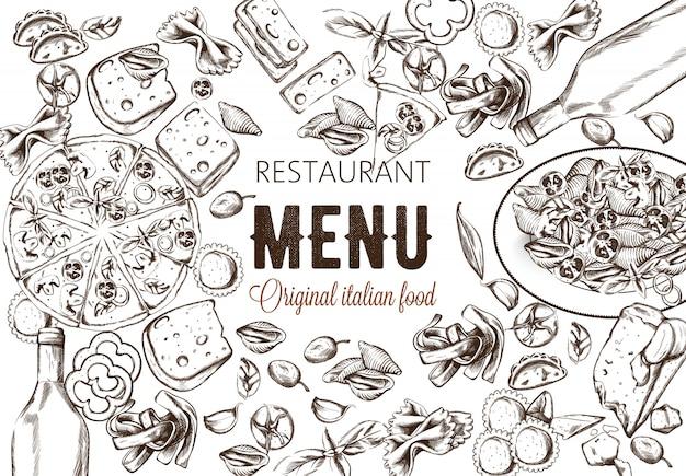Line art composizione alimentare con deliziosa pizza, pasta con pomodori Vettore gratuito
