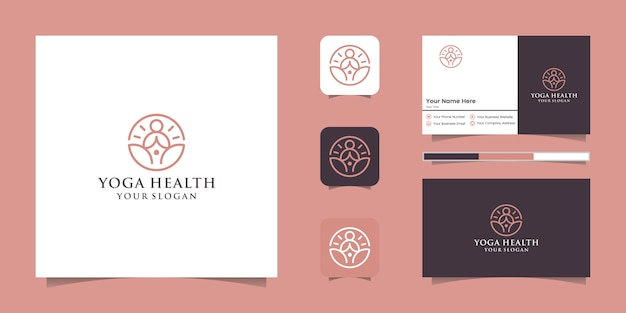 A line art icon logo of a yoga person with buddha line logo and business card design Premium Vector
