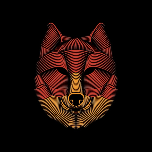 Line art illustration of wolf Premium Vector