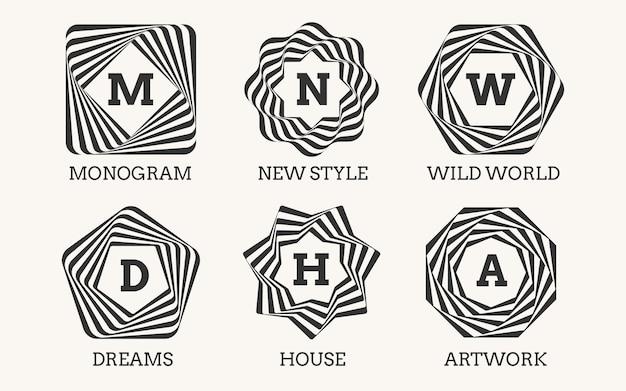 Штриховой дизайн логотипа или монограммы. знак орнамент, рамка и художественное оформление, элегантный символ классический изящный Бесплатные векторы