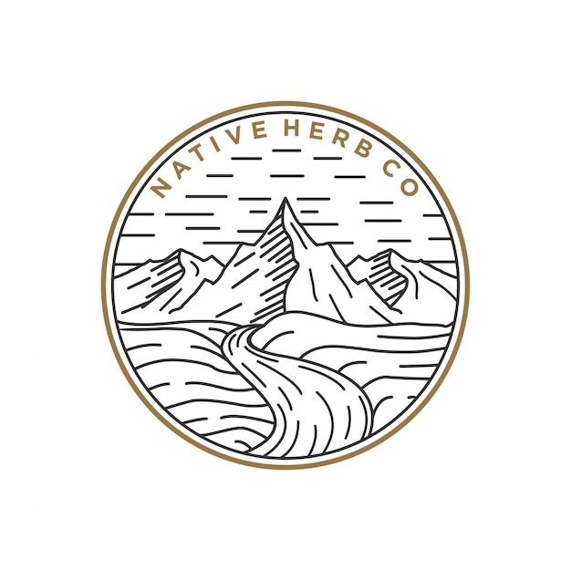 Line art logo mountain Premium Vector
