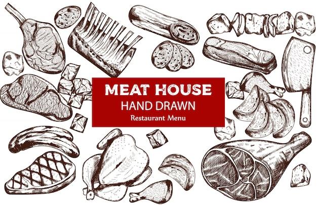 소시지, 스테이크, 돼지 갈비 및 정육점 칼을 사용한 라인 아트 고기 세트 무료 벡터