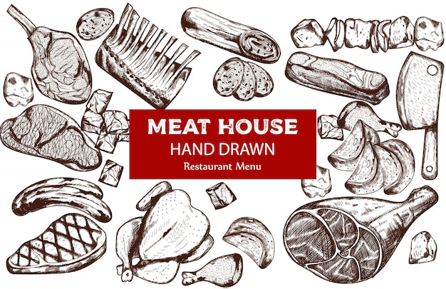Line art meat set with sausage, steak, pork ribs and butcher knife Free Vector